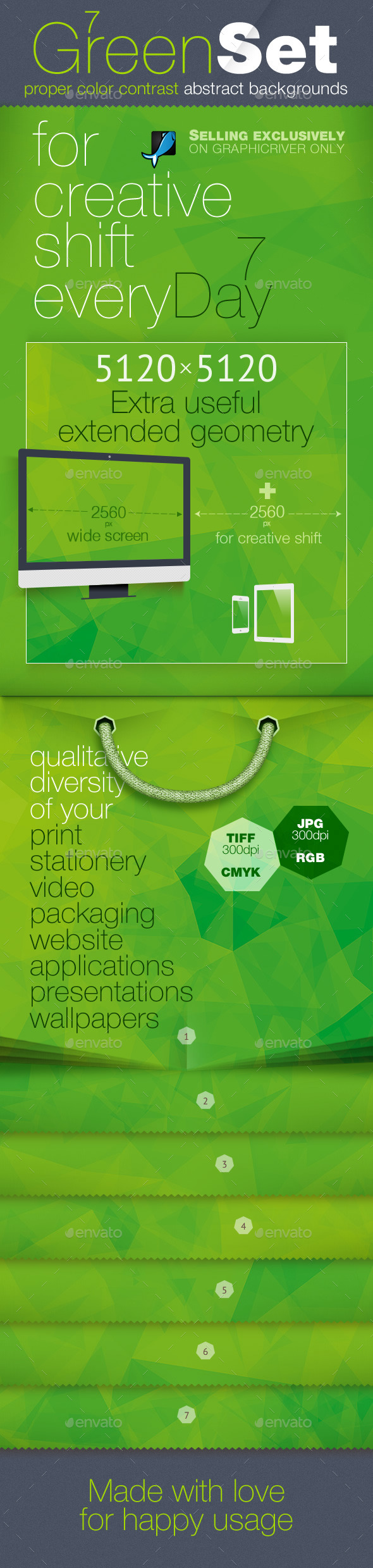 Green Polygon Backgrounds — CMYK and RGB - Abstract Backgrounds