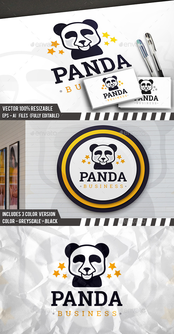 Famous Panda Logo - Animals Logo Templates
