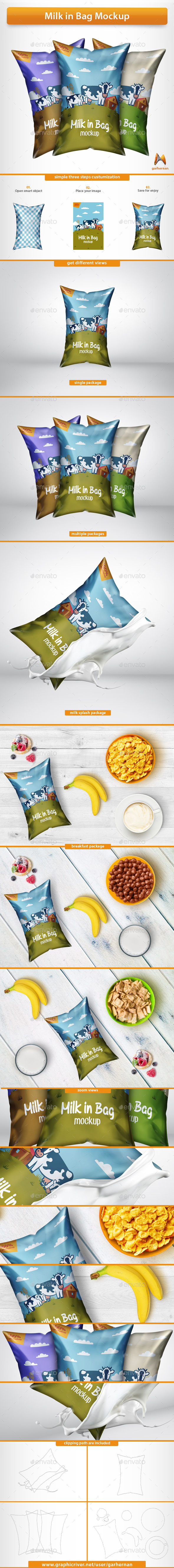 Milk in Bag Mockup - Food and Drink Packaging