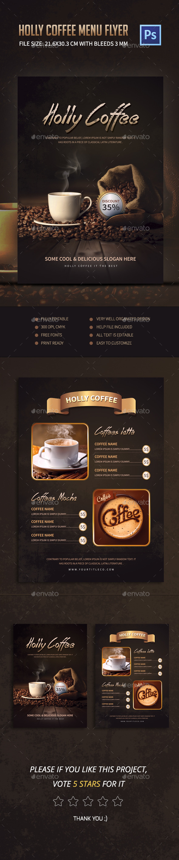 Holly Coffee Menu Flyer - Food Menus Print Templates
