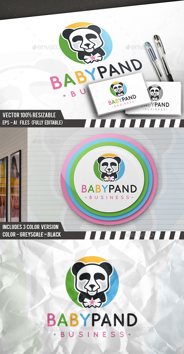 Baby Panda Logo - Animals Logo Templates
