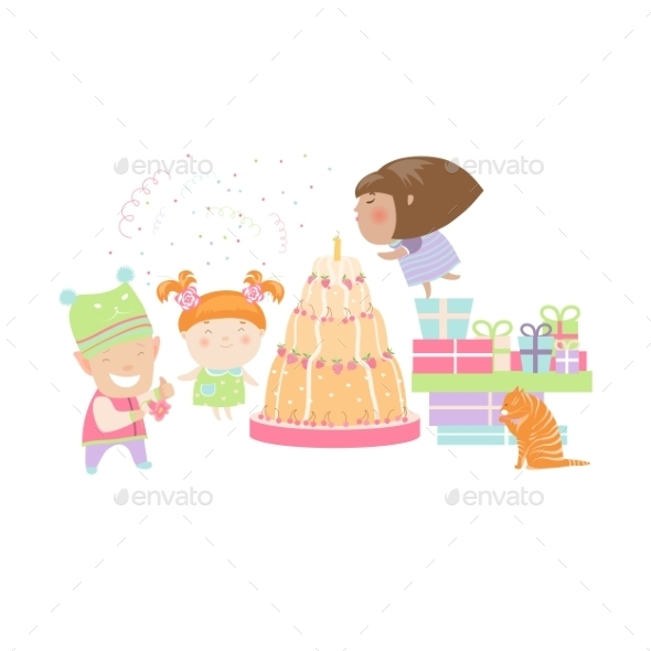 Kids Celebrating Birthday with Gifts and Cake - Birthdays Seasons/Holidays