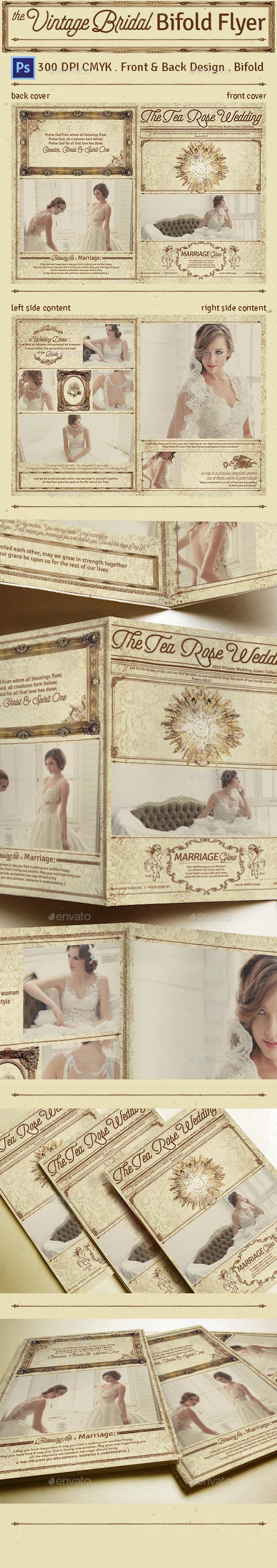 Vintage Bridal Bifold Flyer - Flyers Print Templates