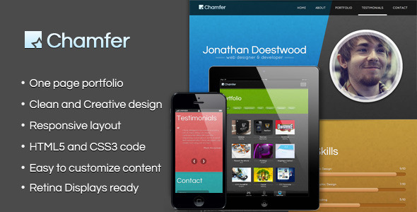 Chamfer - One Page Responsive Theme - Portfolio Creative