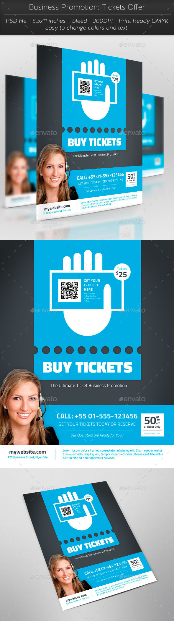 Business Promotion: Tickets Offer - Flyers Print Templates