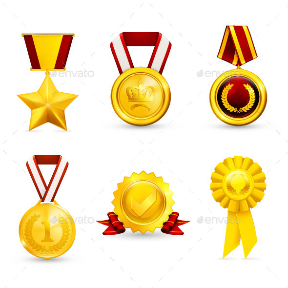 Golden Medals Icons - Man-made Objects Objects