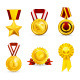 Golden Medals Icons - GraphicRiver Item for Sale