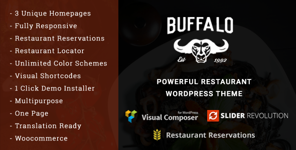 Buffalo - Cafe & Restaurant WordPress Theme - Restaurants & Cafes Entertainment