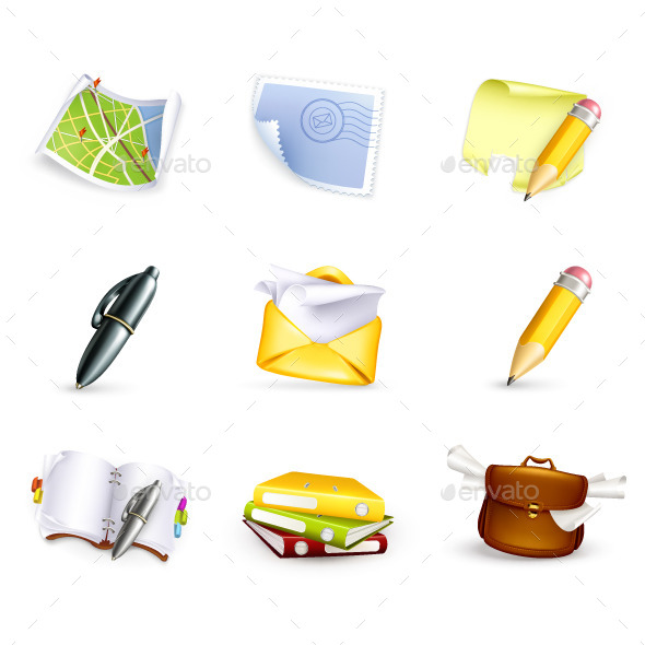 Business and Stationery Office Icons - Man-made Objects Objects