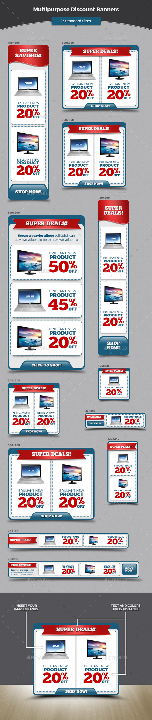 Multipurpose Discount Banners - Banners & Ads Web Elements