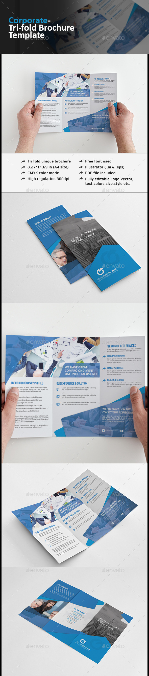 Corporate Tri-fold Brochure Template - Corporate Brochures