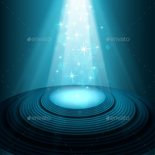 Theater Stage with Blue Spotlights - Miscellaneous Vectors
