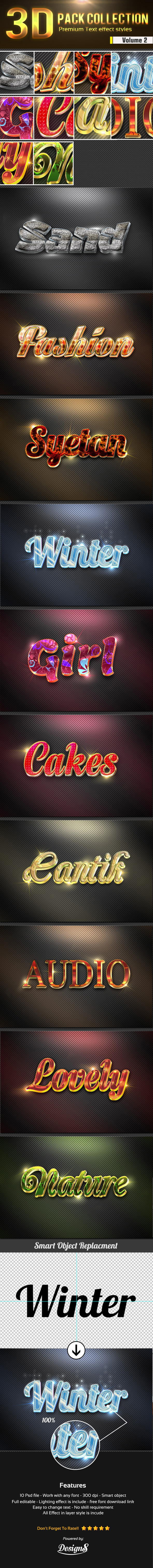 New 3D Photoshop Text Effect Style Vol 2 - Text Effects Styles