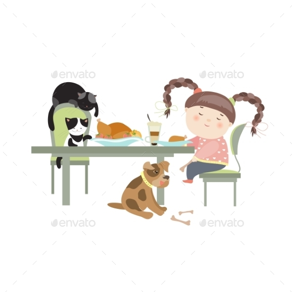 Dinner with Pets - Animals Characters