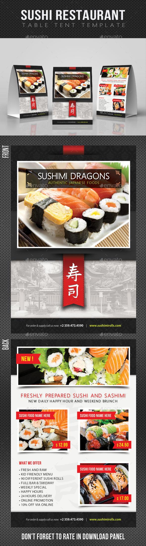 Sushi Restaurant Menu Table Tent V02 - Food Menus Print Templates