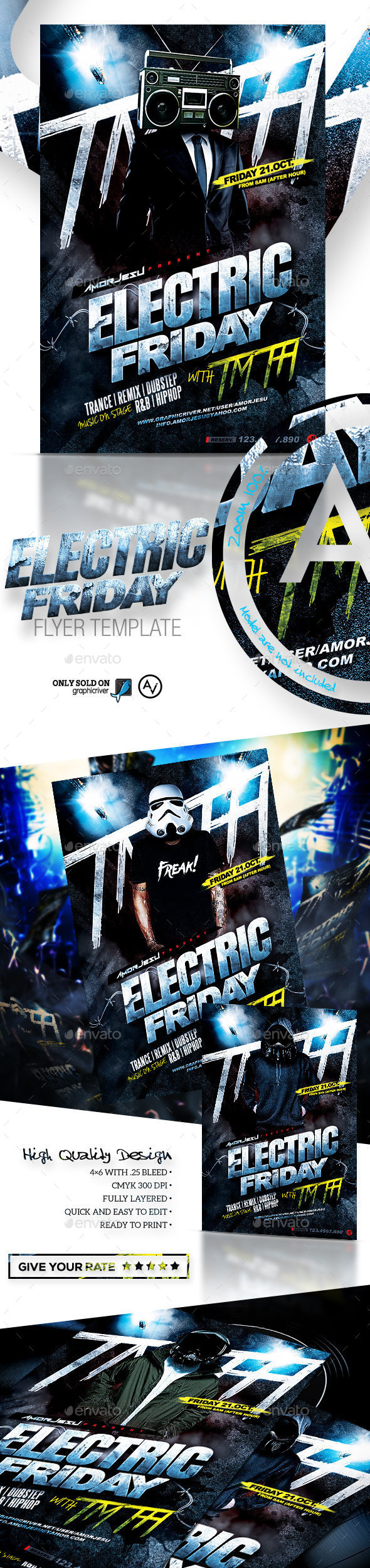 Electric Friday Flyer Template - Clubs & Parties Events