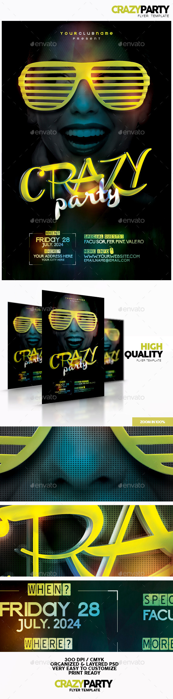 Crazy Party Flyer Template - Flyers Print Templates
