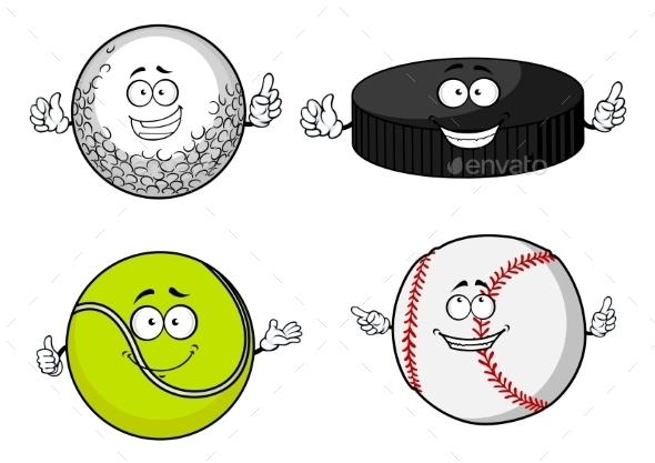 Golf, Tennis, Baseball Balls And Hockey Puck - Sports/Activity Conceptual