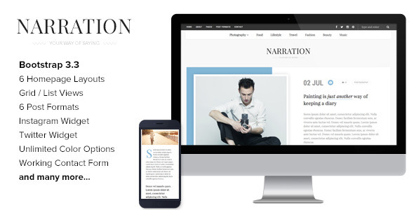 Narration – A Responsive HTML5 Blog Template