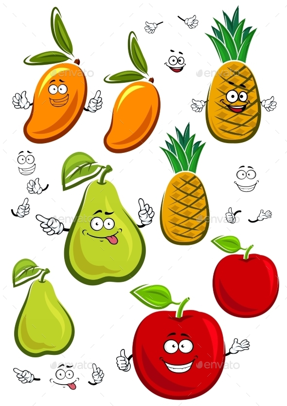 Apple, Mango, Pineapple And Pear Fruits Characters - Food Objects
