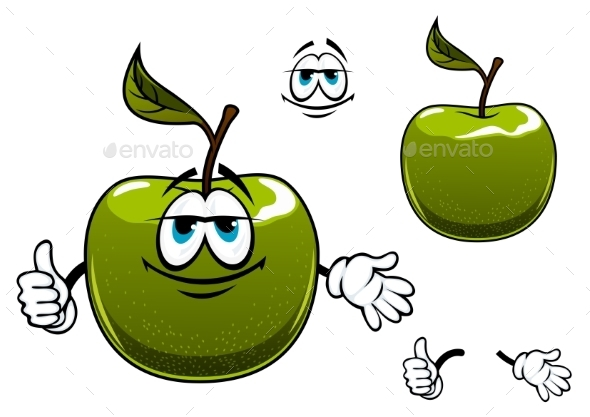 Green Apple Fruit Cartoon Character With Thumb Up - Food Objects