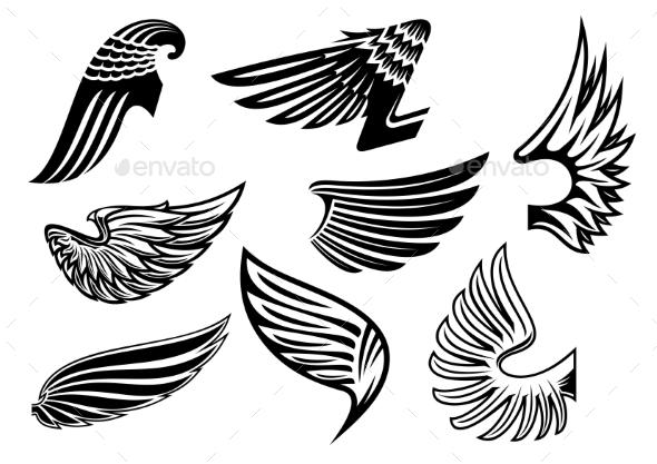 Heraldic Angel Black And White Wings - Tattoos Vectors