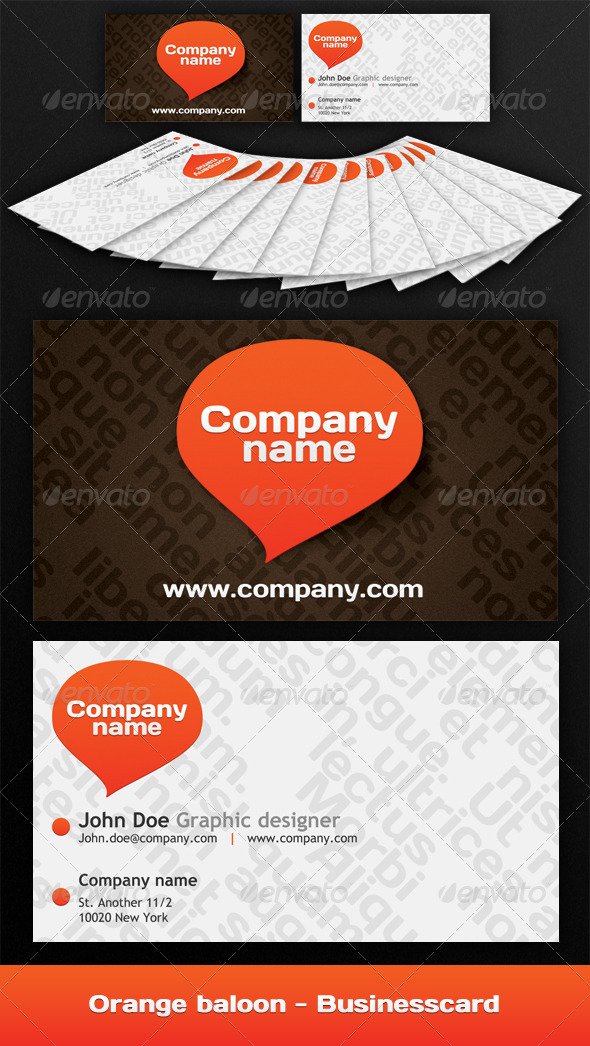 Orange baloon - Businesscard - Creative Business Cards