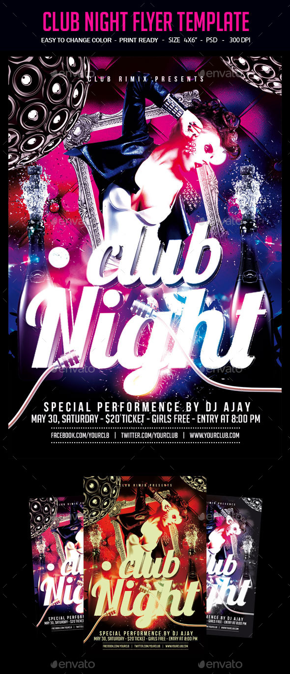 Club Night Flyer Template - Clubs & Parties Events