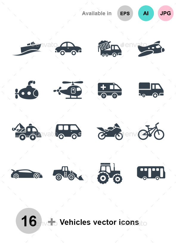 Vehicle vector icons - Man-made objects Objects