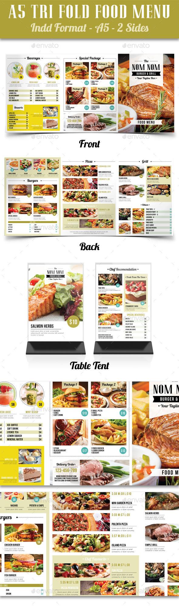 A5 Tri Fold Food Menu - Food Menus Print Templates