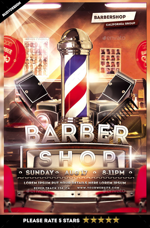 Barbershop Flyer By Rudydesign Graphicriver