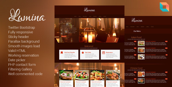 Lumina - Responsive Restaurant Website Template - Restaurants & Cafes Entertainment