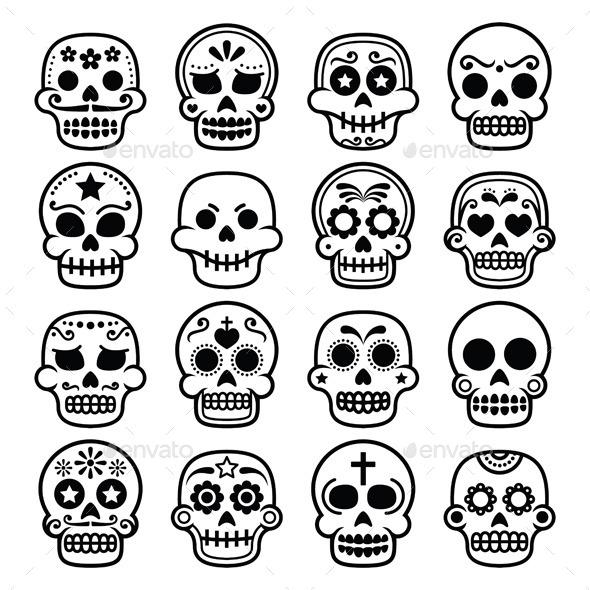 Halloween, Mexican sugar skull, Dia de los Muertos - Halloween Seasons/Holidays