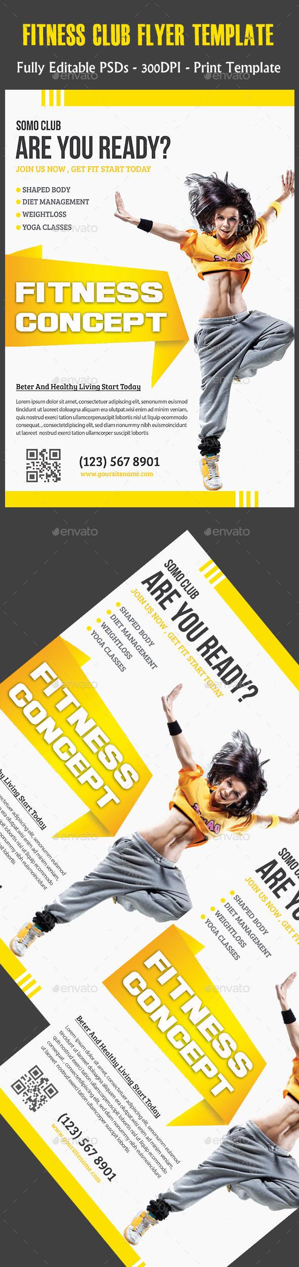 Fitness Club Flyer - Flyers Print Templates