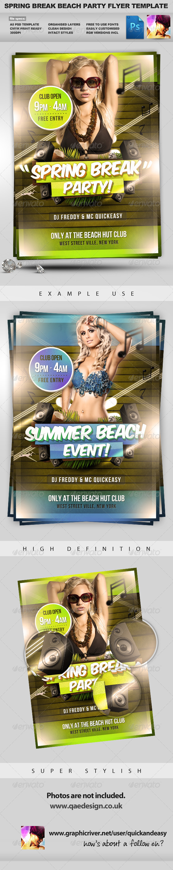 Spring Break Flyer Template - Clubs & Parties Events