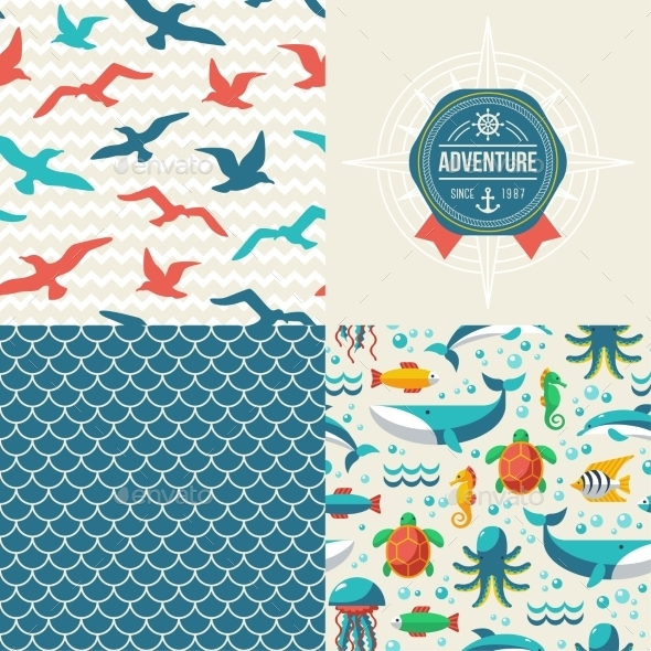 Seamless Patterns of Marine Symbols and Label - Backgrounds Decorative