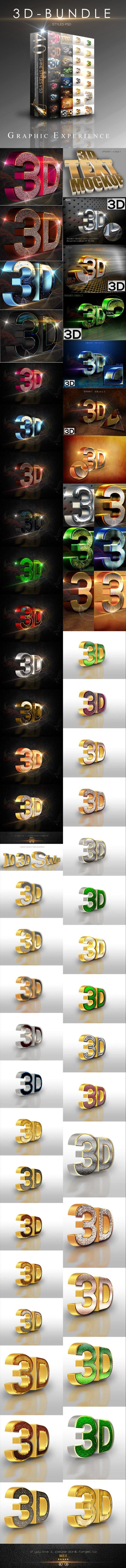 40 Bundle 3D Text Style - Text Effects Styles