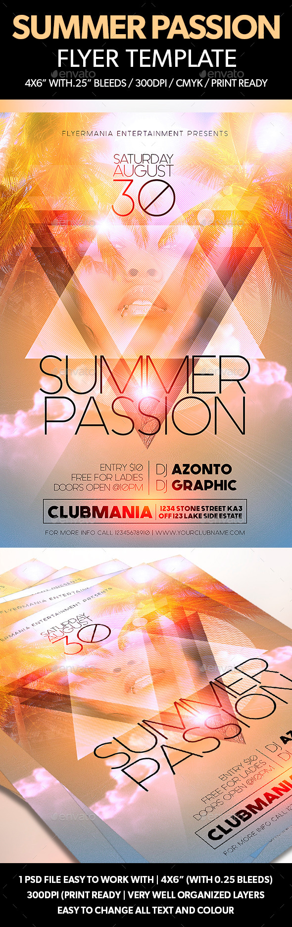 Summer Passion Flyer Template - Clubs & Parties Events