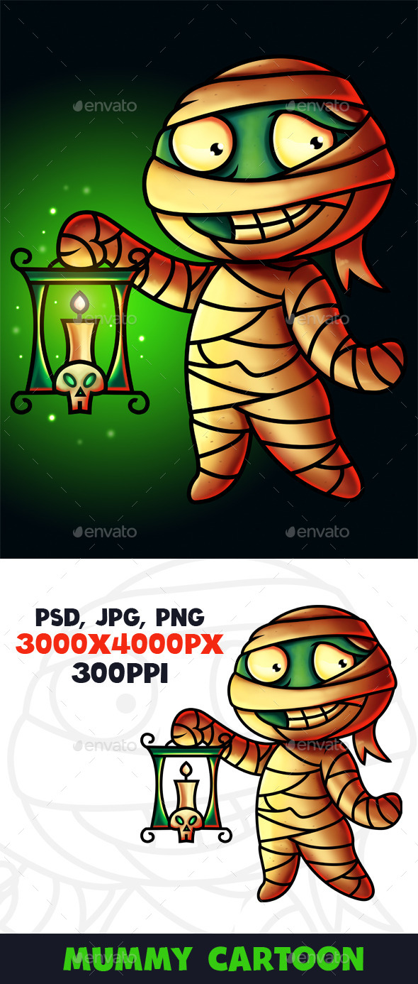 Mummy Cartoon Character Digital Painting - Characters Illustrations