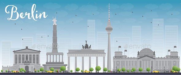 Berlin Skyline with Grey Building and Blue Sky - Buildings Objects