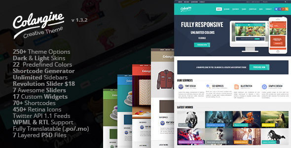 Colangine – Creative Flat WordPress Theme + RTL