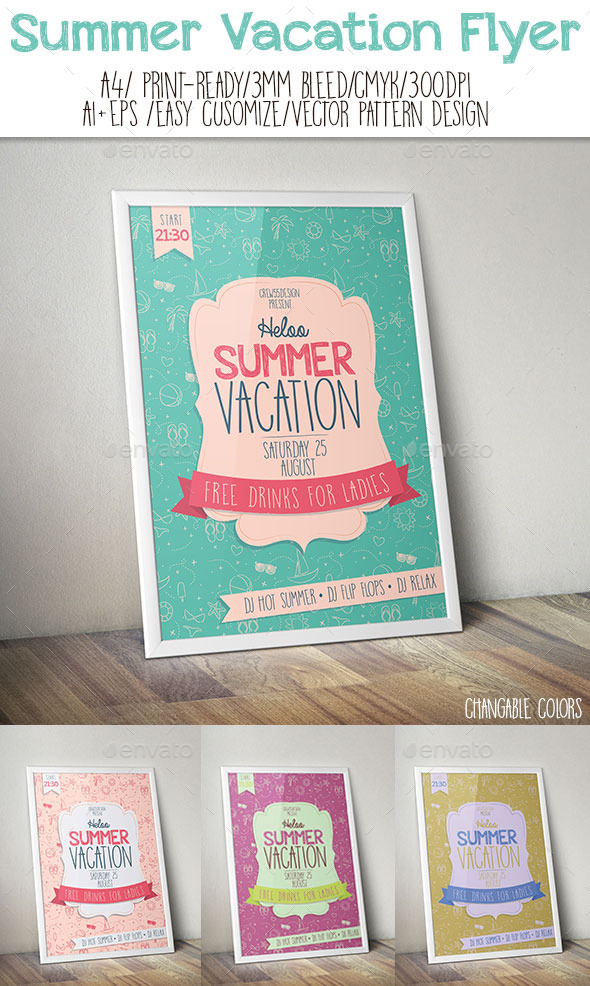 Summer Vacation Flyer - Flyers Print Templates