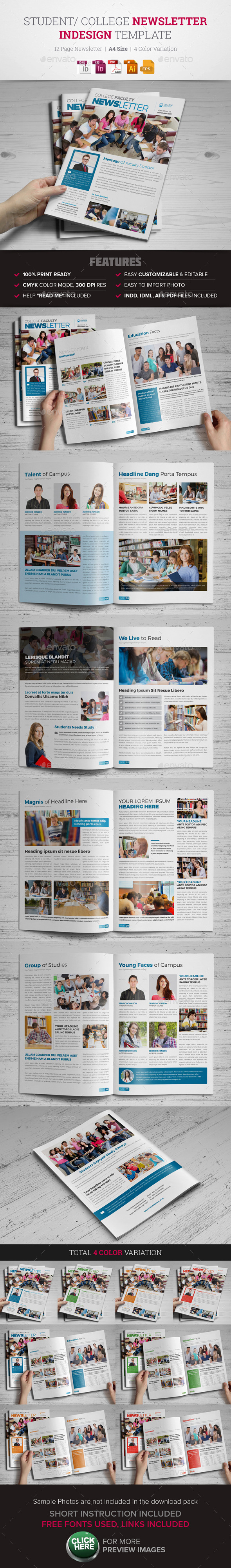 Student College Newsletter Indesign Template - Newsletters Print Templates