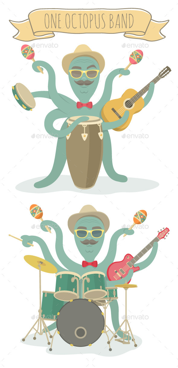 Cartoon Octopus Character Plays Music - Animals Characters