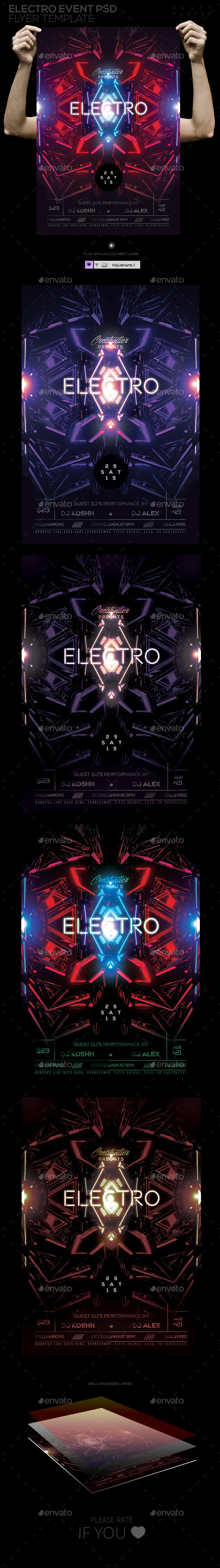 Electro Event Flyer / Poster Template - Clubs & Parties Events