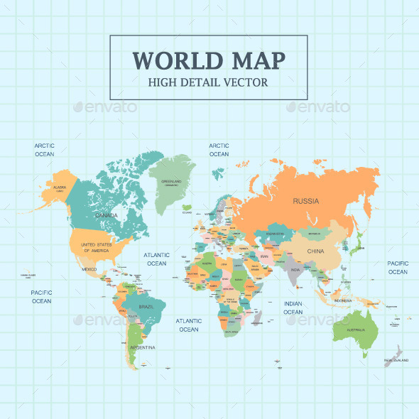 World Map Full Color - Miscellaneous Seasons/Holidays