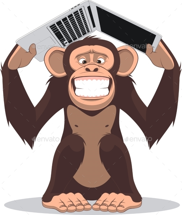 Monkey and Computer - Backgrounds Decorative