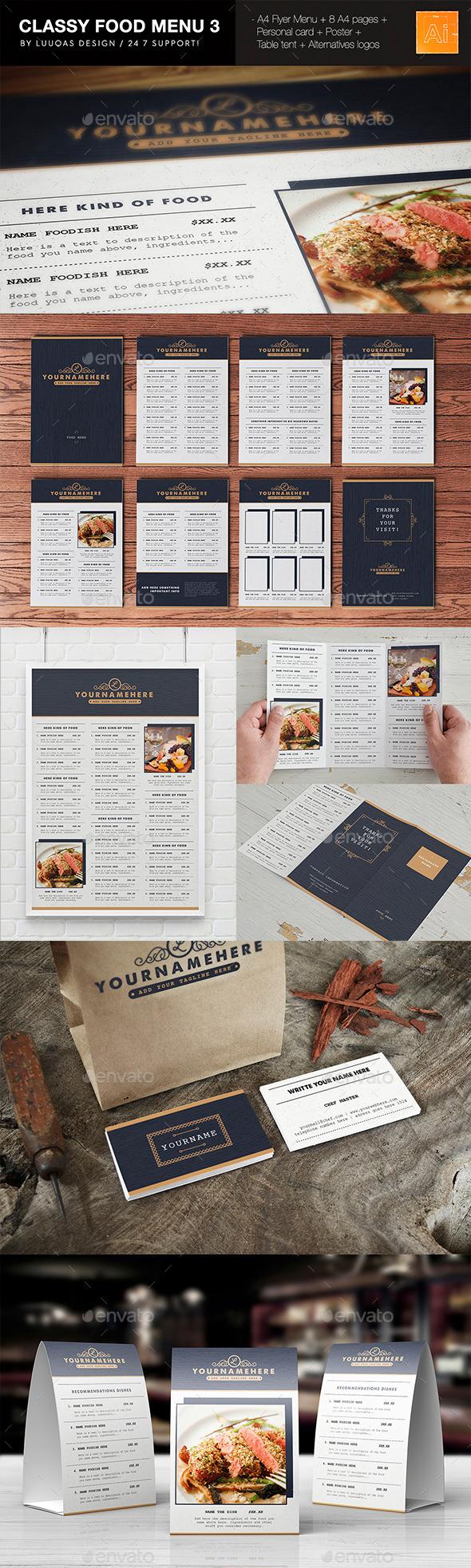 Classy Food Menu 3 - Food Menus Print Templates