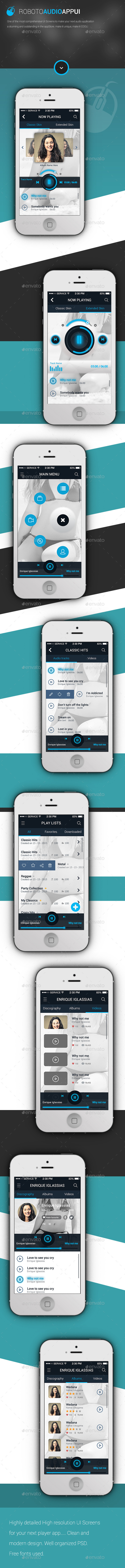 Roboto Phone Player App User Interface Kit - User Interfaces Web Elements