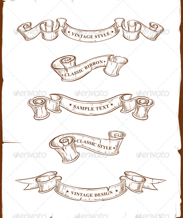 Vintage Ribbons Set - Decorative Symbols Decorative